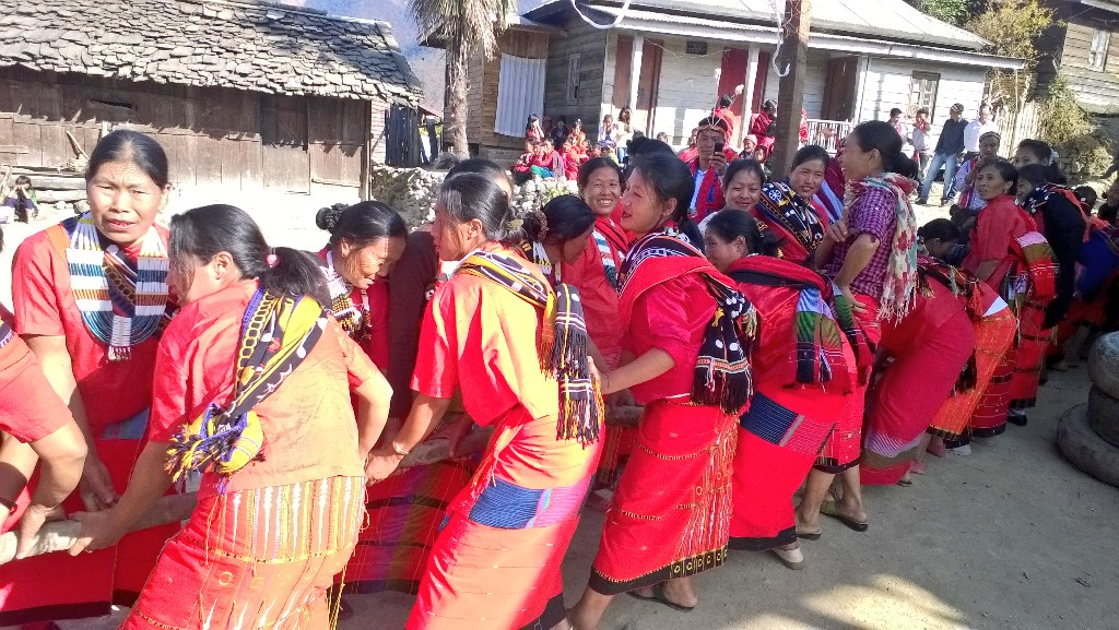 Tug of war between tangkhul men and women during luira phanit festival is very enjoyable